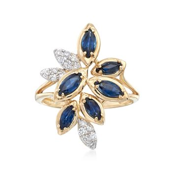 1.40 ct. t.w. Sapphire and .16 ct. t.w. Diamond Leaf-Style Ring in 14kt Yellow Gold, , default