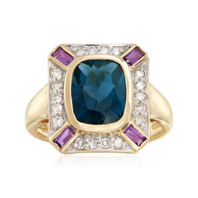 3.06 ct. t.w. Multi-Gemstone Ring in 14kt Yellow Gold, , default