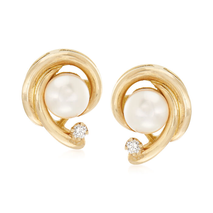 C. 1990 Cultured Pearl Swirl Earrings With Diamond Accents in 18kt Yellow Gold, , default