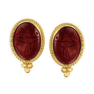Red Carnelian Scarab Earrings in 18kt Gold Over Sterling