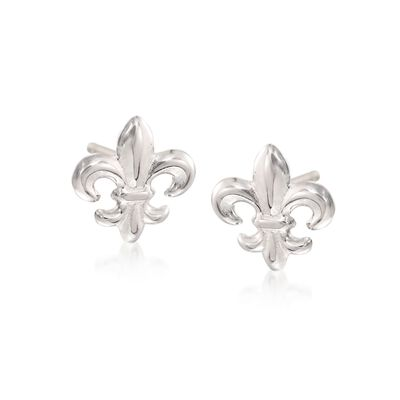 Sterling Silver Fleur-De-Lis Stud Earrings, , default
