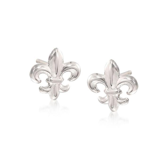 Sterling Silver Fleur-De-Lis Stud Earrings