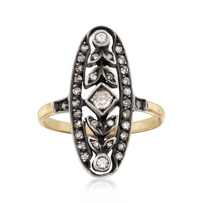 C. 1940 Vintage .43 ct. t.w. Diamond Dinner Ring in 15kt Yellow Gold and Sterling Silver, , default