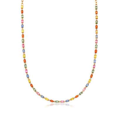 15.10 ct. t.w. Multicolored Sapphire and .36 ct. t.w. Diamond Necklace in 14kt Yellow Gold, , default