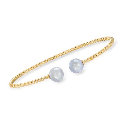 Gabriel Designs 8mm Gray Cultured Pearl Cuff Bracelet in 14kt Yellow Gold