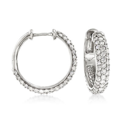 3.00 ct. t.w. Diamond Hoop Earrings in Sterling Silver