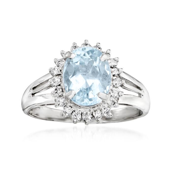C. 1990 Vintage 1.75 Carat Aquamarine and .25 ct. t.w. Diamond Ring in Platinum