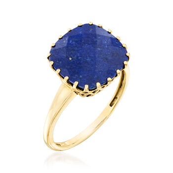 Square Lapis Ring in 14kt Yellow Gold, , default