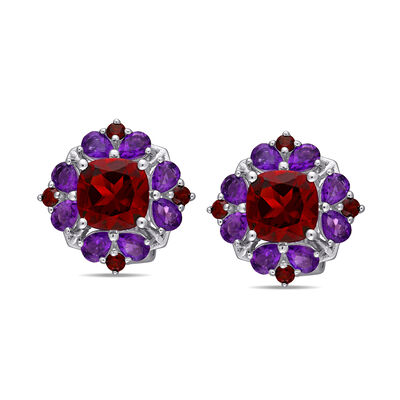 6.40 ct. t.w. Garnet and 2.20 ct. t.w. Amethyst Earrings in Sterling Silver