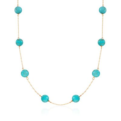 8mm Stabilized Turquoise Bead Station Necklace in 14kt Yellow Gold