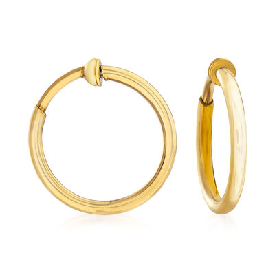 14kt Yellow Gold Medium Clip-On Hoop Earrings, , default