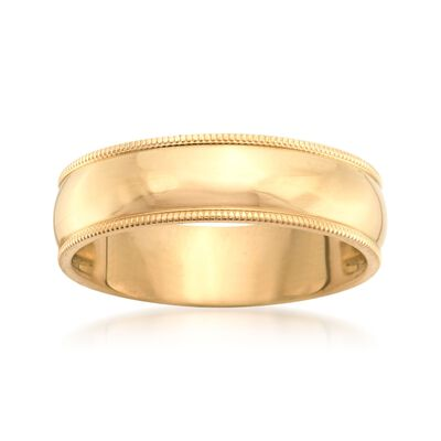 Men's 6mm 14kt Yellow Gold Milgrain Wedding Ring, , default