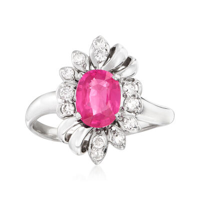 C. 2000 Vintage 1.22 Carat Pink Sapphire and .30 ct. t.w. Diamond Ring in Platinum