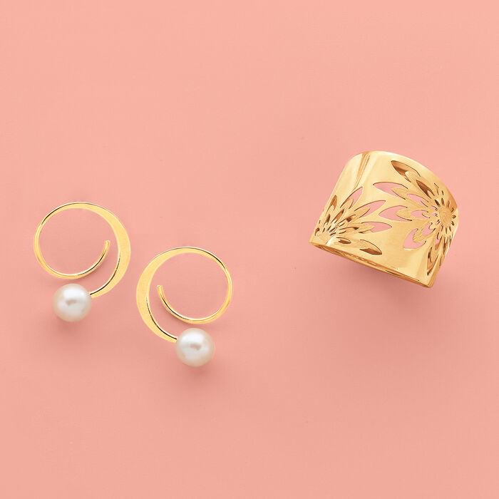 5.5-6mm Cultured Pearl Spiral Hoop Earrings in 14kt Yellow Gold