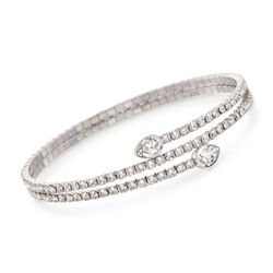"Swarovski Crystal ""Twisty Drop"" Crystal Wrap Bracelet in Silvertone, , default"