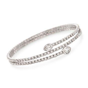 "Swarovski Crystal ""Twisty Drop"" Crystal Wrap Bracelet in Silvertone. 7"", , default"