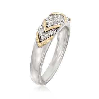 .25 ct. t.w. Diamond Chevron Ring in Sterling Silver and 14kt Yellow Gold, , default