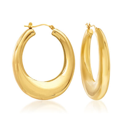 Italian Andiamo 14kt Yellow Gold Hoop Earrings, , default