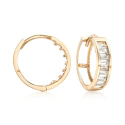 1.40 ct. t.w. Baguette CZ Huggie Hoop Earrings in 14kt Yellow Gold, , default