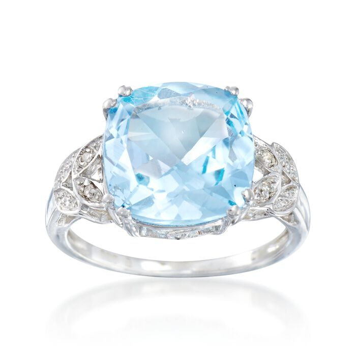 6.75 Carat Blue Topaz Ring with Diamond Accents in Sterling Silver, , default
