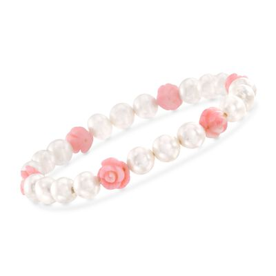 8mm Cultured Pearl and Pink Coral Floral Stretch Bracelet, , default