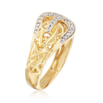 .13 ct. t.w. Diamond Buckle Ring in 18kt Yellow Gold Over Sterling
