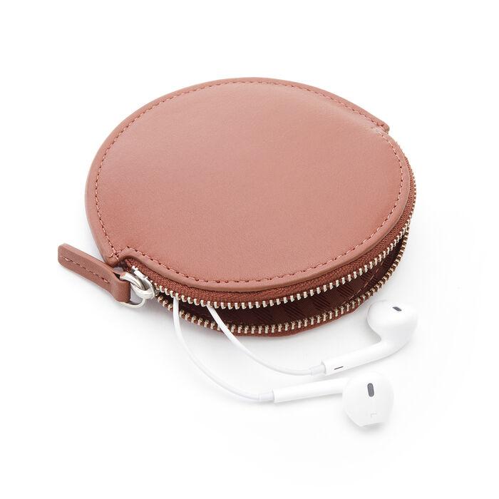 Royce Tan Leather Circular Earbud Case