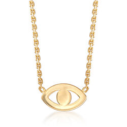 14kt Yellow Gold Evil Eye Necklace, , default
