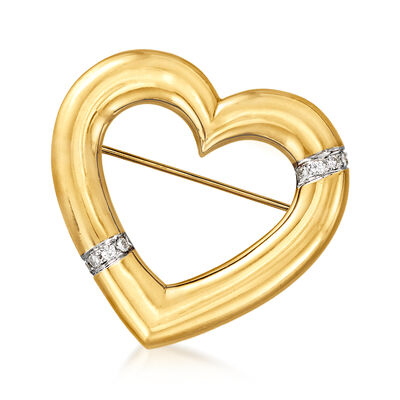 "C. 1982 Vintage Tiffany Jewelry ""Paloma Picasso"" .25 ct. t.w. Diamond Heart Pin in 18kt Yellow Gold"