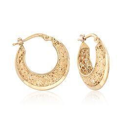 Italian 18kt Yellow Gold Floral Openwork Hoop Earrings, , default