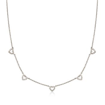 .15 ct. t.w. Diamond Open-Space Heart Station Necklace in Sterling Silver, , default