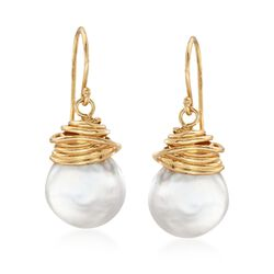 12-13mm Cultured Coin Pearl Drop Earrings in 18kt Yellow Gold Over Sterling Silver , , default