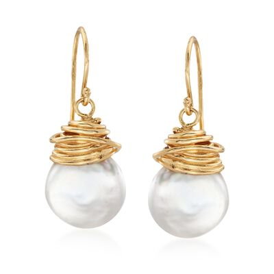 12-13mm Cultured Coin Pearl Drop Earrings in 18kt Yellow Gold Over Sterling Silver, , default