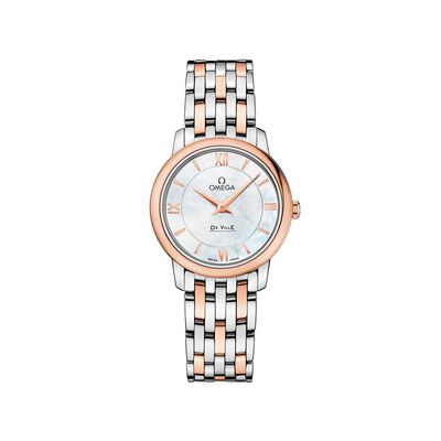 Omega De Ville Prestige Women's 27.4mm Mother-Of-Pearl Watch in Stainless Steel and 18kt Rose Gold, , default