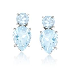 4.00 ct. t.w. Blue Topaz Stud Earrings in Sterling Silver, , default
