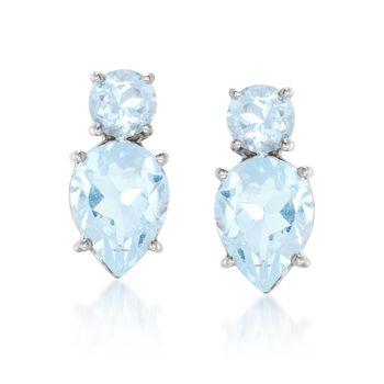 4.00 ct. t.w. Blue Topaz Stud Earrings in Sterling Silver, , default