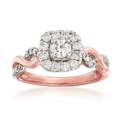 .70 ct. t.w. Diamond Twist-Shank Engagement Ring in 14kt Rose Gold, , default