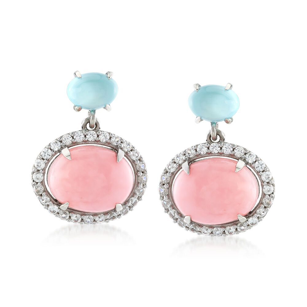 Pink Opal With Aqua Chalcedony And 80 Ct T W White Zircon Earrings In Sterling
