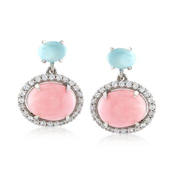 Pink Opal With Aqua Chalcedony and .80 ct. t.w. White Zircon Earrings in Sterling Silver, , default