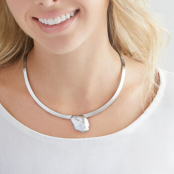 27x20 Cultured Semi-Baroque Pearl Collar Necklace in Sterling Silver, , default