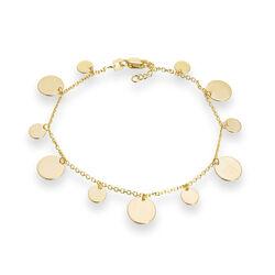14kt Yellow Gold Disc Dangle Bracelet, , default