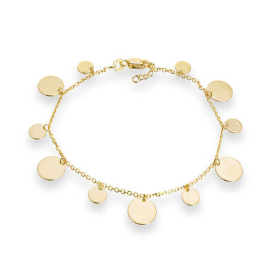 14kt Yellow Gold Disc Dangle Bracelet, , default