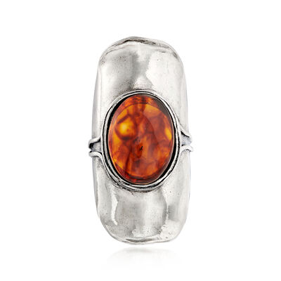 18x13mm Amber Ring in Sterling Silver