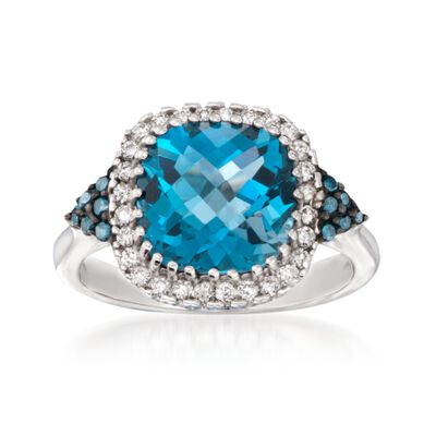 4.20 Carat London Blue Topaz Ring with Blue and White Diamonds in 14kt White Gold, , default