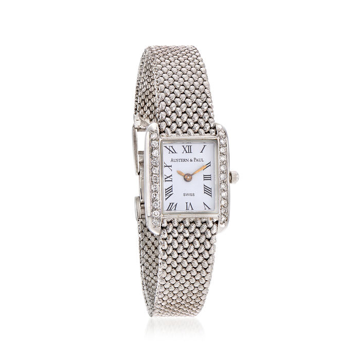 C. 1990 Vintage Austern & Paul Women's 23mm .54 ct. t.w. Diamond Quartz Watch in 14kt White Gold. Size 7