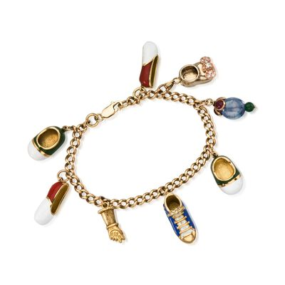 C. 1960 Vintage 7.50 ct. t.w. Multi-Stone Shoe Charm Bracelet in 14 and 18kt Yellow Gold, , default