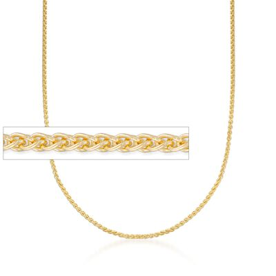 2mm 14kt Yellow Gold Round Wheat Chain Necklace, , default