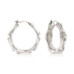 Italian Sterling Silver Bamboo Hoop Earrings, , default