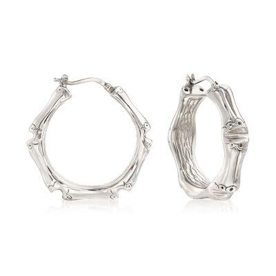 Italian Sterling Silver Bamboo Hoop Earrings, , default