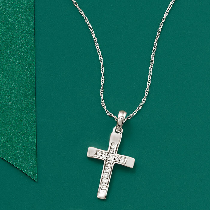 .12 ct. t.w. Diamond Cross Pendant Necklace in 14kt White Gold